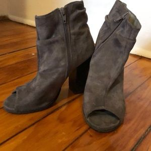 Grey peep toe ankle boots